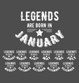 legends are born vintage t-shirt stamp vector image vector image