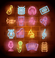 musical instruments with neon lights set icons vector image