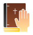 oath on bible flat icon swearing on book color vector image vector image