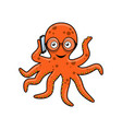 octopus with mobile phone vector image vector image