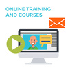 Online Training Courses Icon Flat design Monitor vector image