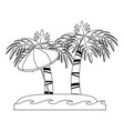 palm tree and umbrella on beach vector image vector image