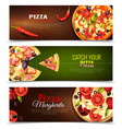 pizza horizontal banners set vector image vector image