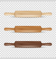 realistic 3d wooden rolling pin icon set