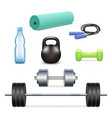 realistic gym icon set vector image vector image