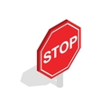 Red traffic stop sign icon isometric 3d style vector image vector image
