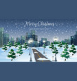 road to the city in winter vector image vector image