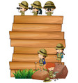 scouts on the wooden board vector image vector image