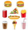 set icons of fast food isolated on white backgroun vector image vector image