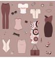 Set of women clothes and accesories vector image