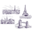 Sightseeings drawings set vector image vector image