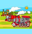 steam engine vehicles cartoon characters group vector image