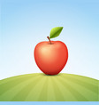 tasty red apple on green field vector image