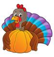 turkey bird holding pumpkin theme 1 vector image vector image
