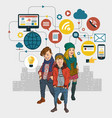 urban youth in the internet network vector image vector image