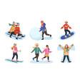winter outdoor games smiling kids activity spend vector image