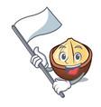 with flag macadamia mascot cartoon style vector image