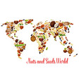world map of nuts seed and bean food design vector image vector image
