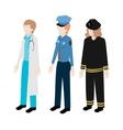 Set of isometric woman rescuers vector image