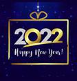 2022 happy new year gift golden vector image