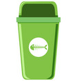 a green trash can on white background vector image