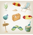 Beach items set Travel vacation items vector image vector image