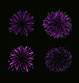 beautiful purple fireworks set bright fireworks vector image vector image