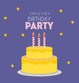 birthday party invitation with cute cake vector image vector image