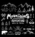 black and white camping collection of icon made vector image vector image