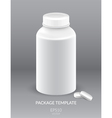 Blank Plastic Packaging Bottle with Cap for Pills vector image vector image