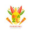 brazil carnival logo design colorful festive vector image