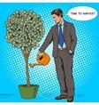 Businessman water money tree pop art style vector image vector image