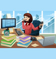 busy businesswoman on the phone vector image vector image