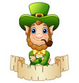 cartoon leprechaun with a smoking pipe and a scrol vector image