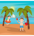 Children Sea Vacation Boys Playing on the Beach vector image vector image