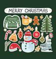 christmas modern set stickers vector image