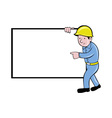 construction worker with white board pointing vector image vector image