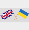 crossed flags ukraine and uk vector image vector image