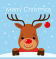 cute cartoon deer face with horn merry christmas vector image