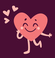 Cute Heart Character in Love vector image vector image