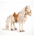 Cute saddled little pony horse isolated on a white vector image vector image