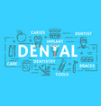 dentistry medicine dental clinic thin line banner vector image
