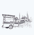 digital blue mosque and simit vendor cart vector image