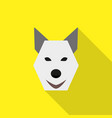 dog face flat style icon logo on yellow background vector image