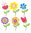 doodle flowers vector image vector image