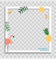 empty photo frame template with palm leaves pink vector image