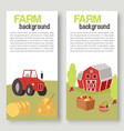 farm harvestingbcrops with tractor and barn vector image