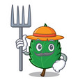farmer mint leaves character cartoon vector image vector image