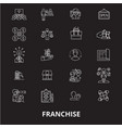 franchise editable line icons set on black vector image vector image