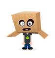 funny boy with a box on his head happy halloween vector image
